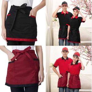 포켓 유니버설 유니섹스 짧은 앞치마 4 스타일 주방 요리 웨이터 에이프런 호텔 요리사 유니폼 허리 매일 사용