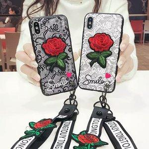 Kordon Ile 3D Dantel Gül Çiçek Kılıf iphone X 6 6 S 7 8 Artı Samsung S7 Kenar S8 S9 Not Note8 J2 J5 J7 Başbakan 2017 A6 J4 J6 J2 Pro 2018