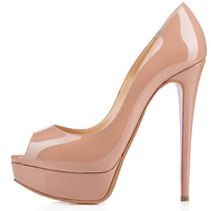 2018Fashion 14cm Heel Women Nude Patent Leather Leather Peep-toes High Heels ,Desiger Platform Shallow Mouth Women&039;s Dress Shoes