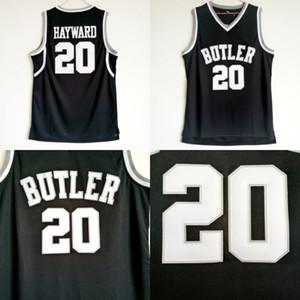 Mayordomo masculino Bulldogs # 20 Gordon Hayward College camisetas de baloncesto Vintage negro Gordon Hayward cosido Jerseys de baloncesto de la Universidad S-XXL
