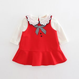 INS 2 cor 2018 estilo Coreano primavera new fashion new arrivals Meninas bebê colete dress + algodão boneca gola camiseta dois conjuntos frete grátis