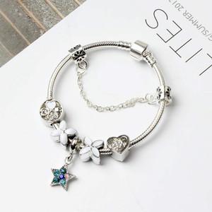 16 + 5CM Novas Europeu encanto Beads pulseiras 925 Cobra Cadeia Bangles DIY jóias como presente