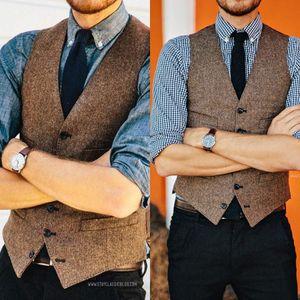 2019 Fashion Brown Wool Tweed Vests Slim Men's Suit Vests Custom Made Suit Jacket Men Wedding Men's Dress Groom Vests Bestman Cheap