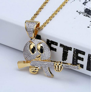 Mens CZ Emoji Face hold gun Pendente Hip Hop Bling Bling Micro Pave Cubic Zirconia Collana 18K gioielli in oro placcato con confezione regalo