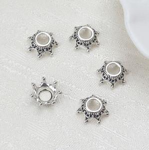 200PCS التبتية فضة ولي حبة قبعات الخرز احتواء صنع المجوهرات 13x5mm