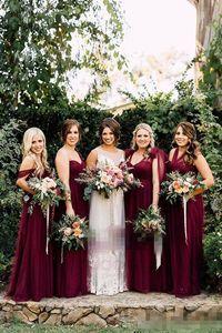Borgogna Tulle Convertible Boho Country Abiti da damigella d'onore 2018 Floreale formale Autumn Garden Wedding Party Guest Junior Gowns