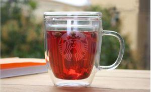 Starbucks double wall 475ml glass cup mugs coffee milk beer mug with lid and handle mugs