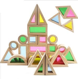 Baby Lernspielzeug Bunter Regenbogen Montessori Transparent Acryl Holzbausteine Sensorische Spielzeug Set Große Größe 24 stücke