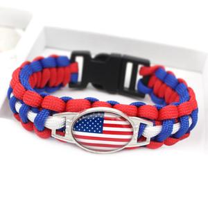 12st Großhandel Beliebte WM weven Paracord Armbänder Deutsch / Brasilien / Argentinien / Frankreich / American / Kanada-Flaggen-Charm Bracelets