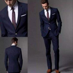 Dark Navy Blue Men Suit 2018 Fashion Groom Suit Trajes de boda para hombres Slim Fit Groom Tuxedos para el mejor hombre (chaqueta + pantalones)