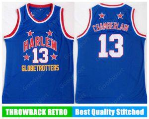 Harlem Globetrotters 13 Wilt Chamberlain 자수 스윙 맨 유니폼 저지 셔츠 저렴한 전체 스포츠 농구 셔츠 속도