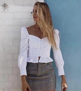 2018 retro real francesa estilo sopro de manga longa colarinho quadrado babados cintura fina de design novas mulheres blusa curta camisa S M L