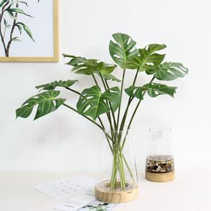 Planta artificial Hojas de palma Simulación Monstera Hoja verde Apoyos Muebles para el hogar Decoración Festival Regalos Flores de belleza 3 9ly gg