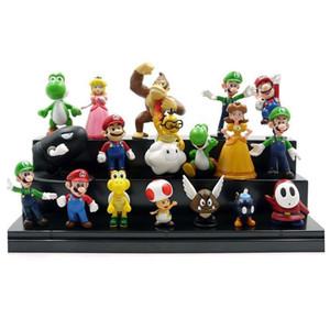 18 pcs Super Mario Bros Luigi Figuras de Ação youshi Super Mario Mario Jogo Série Escritório Boneca Enfeites Todos Os Brinquedos Bonitos 18 pcs