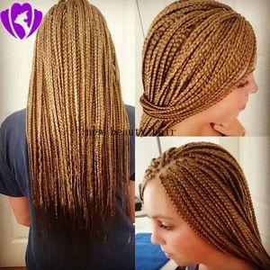 Da caixa de trançado loira natural tranças dianteira do laço sintético perucas cabelo brasileiro laço completo peruca dianteira trançar cabelo da fibra resistente ao calor