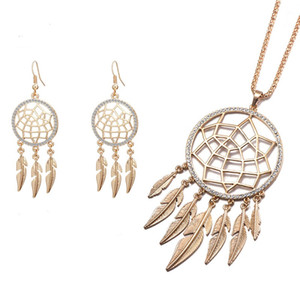 Long Tassel Leaf Feather Necklace Earring Set Hollow Jewelry Dream Catcher Pendant Necklace Earring for Women