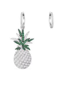 Orecchini in argento ananas moda chic design chic strass verdi orecchini asimmetrici simpatici gioielli in oro verde zirconi