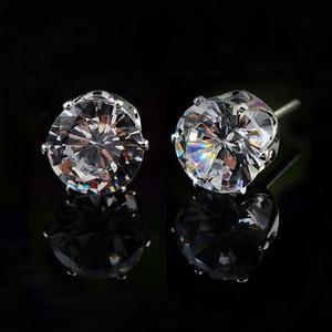 Круглые серьги стержня zirconia белое золото 18k покрыло сердца и стрелки отрезали стержни CZ кристалла от 3mm до 8mm