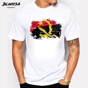 BLWHSA New Arrival Angola Nation Flag Nostalgic Style Mens T-Shirt Summer 100% Cotton Casual T Shirts Hip Hop Style Tops Tees
