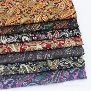 mètre tissu en popeline de coton pour robe chemise vintage paisley matériel couture patchwork brun rouge noir violet tissu paisley rétro