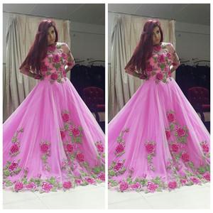2021 melocotón rosado escarpado cuello Poder del pétalo Apliques Prom vestidos del desfile de los vestidos de encargo modesto ocasión especial atractivo de la manera del partido Vestidos