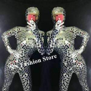 R29 Argent miroir femme Body dj performance sur scène porte des tenues bar combinaison serrée robot femmes costumes de danse de salon costumes club robes dj