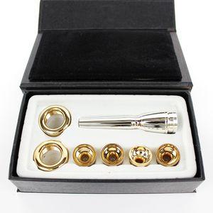 New Bb Trumpet Mouthpiece High Quality 6 PCS   LOT 2C 3C 2B 3B A Multi-Purpose T Adapter Professional Bb Trumpet Gold Lacquer Nozzle