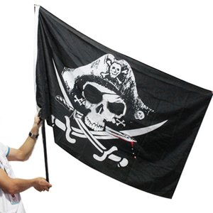 90x150cm Grande Teschio Fascia Crossbones Bandiera Pirati Jolly Roger Roger Appeso Con Passacavo Per Ktv Bar Home Decorazione Praty