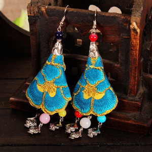 lot of 10pairs Handworking earings Characteristic folk customs Hand made embroidered earrings Flower Tassel Dangle