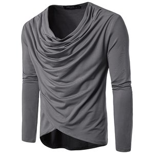İlkbahar Ve Sonbahar Erkekler Moda Saf Renk Eğlence Uzun Kollu Draped T-shirt Adam Boyutu S-2XL Için