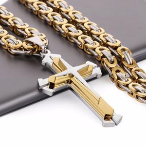 Paslanmaz Çelik Kolye Kolye 3 Katmanlar Şövalye Çapraz Altın Gümüş Ton Güçlü Bizans Zinciri Erkek Moda Takı Babalar Hediye Y1891709