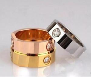2018 anillo de acero titanium anillo de amor de oro rosa de plata para los amantes pareja anillo de boda joyería de Navidad regalo de Navidad