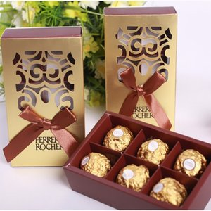 Faveurs de mariage couleur or emballage chocolat 6 trous Baby Shower Paper Candy Cadeaux Box Ferrero Rocher Boxes