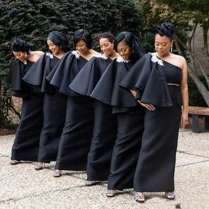 Mais recente Preto Africano Árabe Damas De Honra Vestidos de 2019 Um Ombro Apliques de Frisada Sash Longo Convidados Do Casamento Vestidos Plus Size Vestidos de Noite