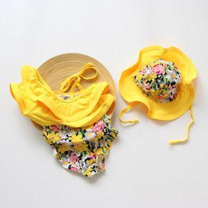 Crianças meninas Floral impressão Swimwear chapéu + folha De Lótus colarinho One-Pieces 2 pçs / set 2018 verão bebê Biquíni Crianças Maiô C3955