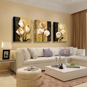 Orchidée Calla lis lavande tournesol pivoine Art huile mur photo 3 panneau moderne impressions sur toile peinture décoration de la maison fleur