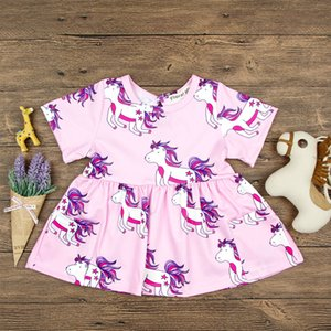 Vestido de algodón con 2 bolsillos grandes de INS Girls Summer Unicorn Full Print Pink Princess Dresses Infant Toddlers manga corta camiseta