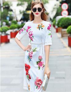 Runway Vintage Blumendruck Nieten Luxus Kleider Neue Ankunft Sommer Kurzarm Damen Damen Casual Designer