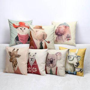 2018 Creative Sir Animal taie d'oreiller 40 * 40cm lin Décor À La Maison Coussin couvre taie d'oreiller animal Imprimé Throw Carré Taie D'oreiller
