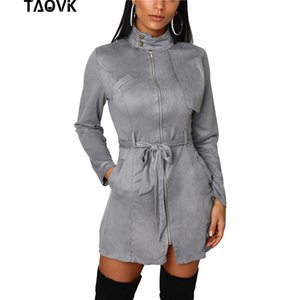 TAOVK Women Front Zippers Dress Office Lady Stand Collar A-Line Abiti eleganti in pelle scamosciata a vita alta al ginocchio