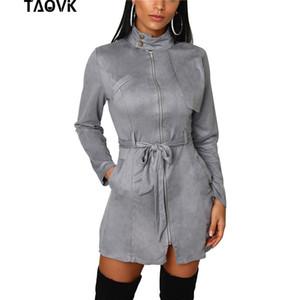 TAOVK Kadınlar Ön Fermuarlar Elbise Ofis Bayan Standı Yaka A-Line Diz boyu Zarif Yüksek Bel Kemeri Süet Elbiseler