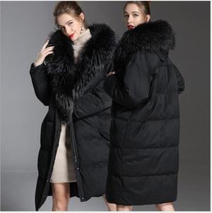 Женщины пуховые Parkas Элегантное длинное пальто Женщины зимняя мода негабаритные белые утки Parka густые теплые большие меховые воротник куртка пиджак без пострадавшего