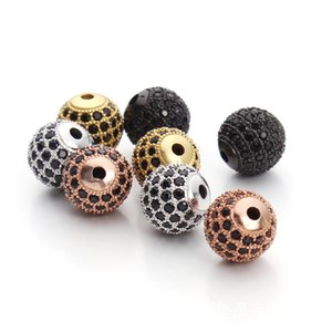 Wholesale DIY Jewelry Spacer Beads 10mm Black Silver Gold Rose Gold Best Quality Micro Pave Black CZ Metal Round Beads