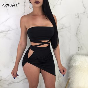 Kowell Lace Up Bandage Bodycon Mini Dress Women 2 Piece Set Summer Strapless Slim Short Dress Sexy Night Club Dresses Vestidos