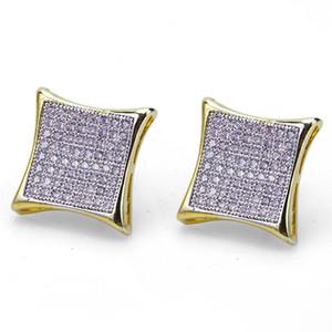 Hiphop Stud earrings for women men gifts Luxury boho white Zircon rhombus Dangle earrings gold plated Vintage geometric Jewelry wholesale