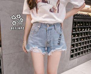 Shorts en denim Pantalons larges pour femmes Vêtements Jeans pour femmes Vêtements de mode décontractés Pantalons de cowboy Shorts en jean Wathet Hole Ripped A9322