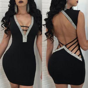 2018New est arrivé femmes profondes col V dos nu Sexy Clubwear Robes de soirée moulantes paillettes Sexy mini robe S M L XL 4 couleurs