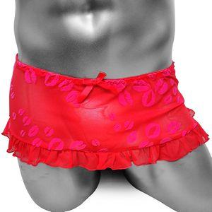 Malha Sissy Saias Calcinha Lingerie Sexy Com Lábio Impresso Sexy Feminino Gay Sexy Clube Desgaste Transparente Sissy Cuecas Cueca