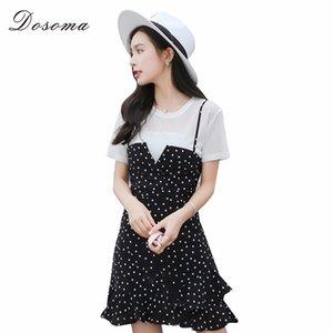 vente en gros femmes deux pièces ensemble été jarretelles volants Dot Mini robe et Casual T-shirts noirs Spaghetti Strap Dress Suits Femme
