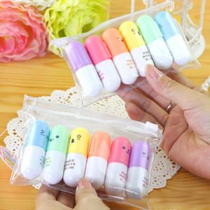 Bolígrafo resaltador en forma de píldora mb Pen Mini de lujo para escribir Bolígrafo de graffiti de cara linda Papelería coreana suministros de oficina escolar 6 piezas / juego